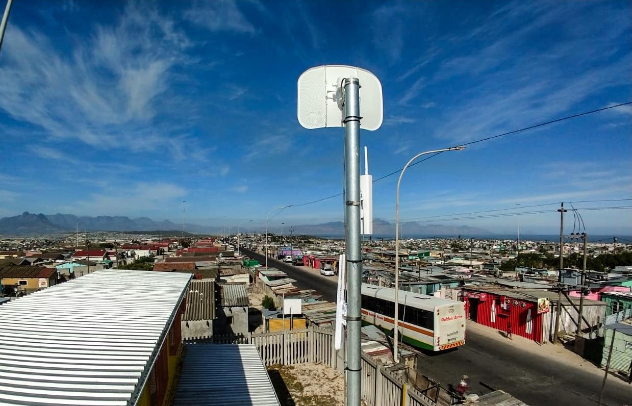 A V-NET lightbeam installed at Kwamfundo in Khayelitsha
