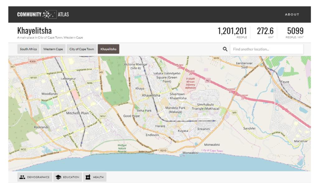Screenshot of Community Atlas Web Interface