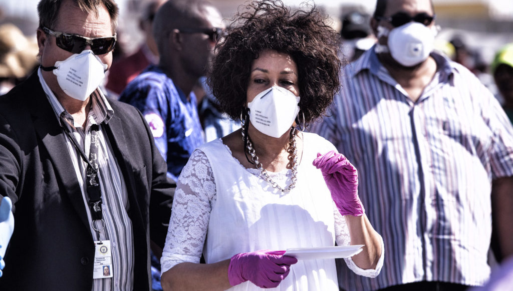 Minister of Human Settlements, Water and Sanitation Lindiwe Sisulu visits Empolweni community in Khayelitsha who were recently evicted in the area on April 19, 2020 in Cape Town, South Africa. (Photo by Gallo Images/Brenton Geach)